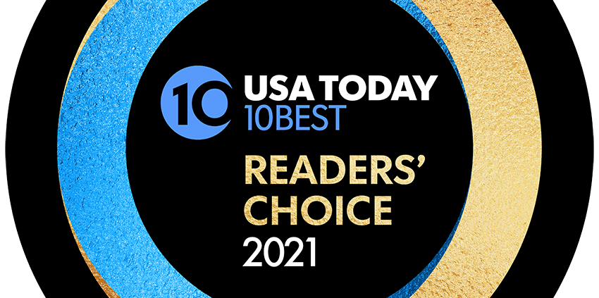 USA Today 10Best Readers' Choice 2021 logo showing Roadrunner Lodge named #1 Best Roadside Motel